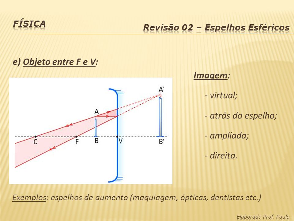 Imagens - Espelhos Convexos (caso único): Imagem: - virtual; - entre V e F; - reduzida; - direita.