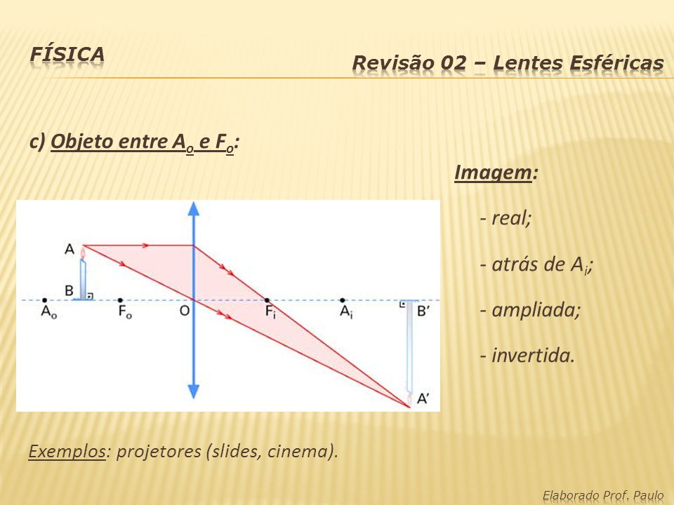 d) Objeto sobre F o : Imagem imprópria ou formada no infinito (não há formação de imagem).