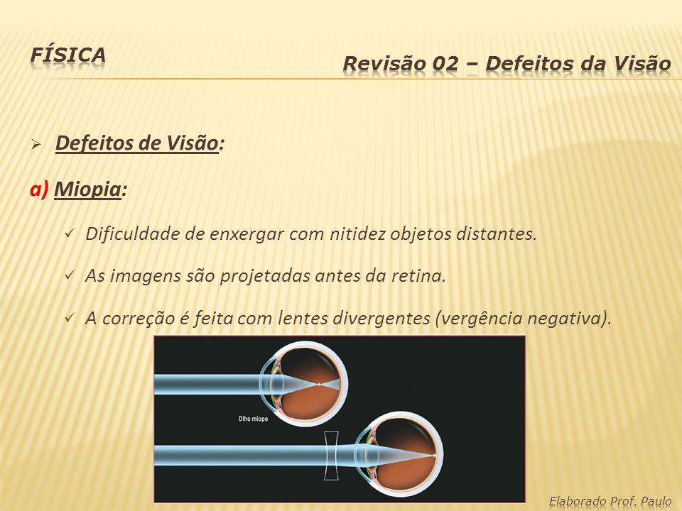 b) Hipermetropia: Dificuldade de enxergar com nitidez objetos próximos.