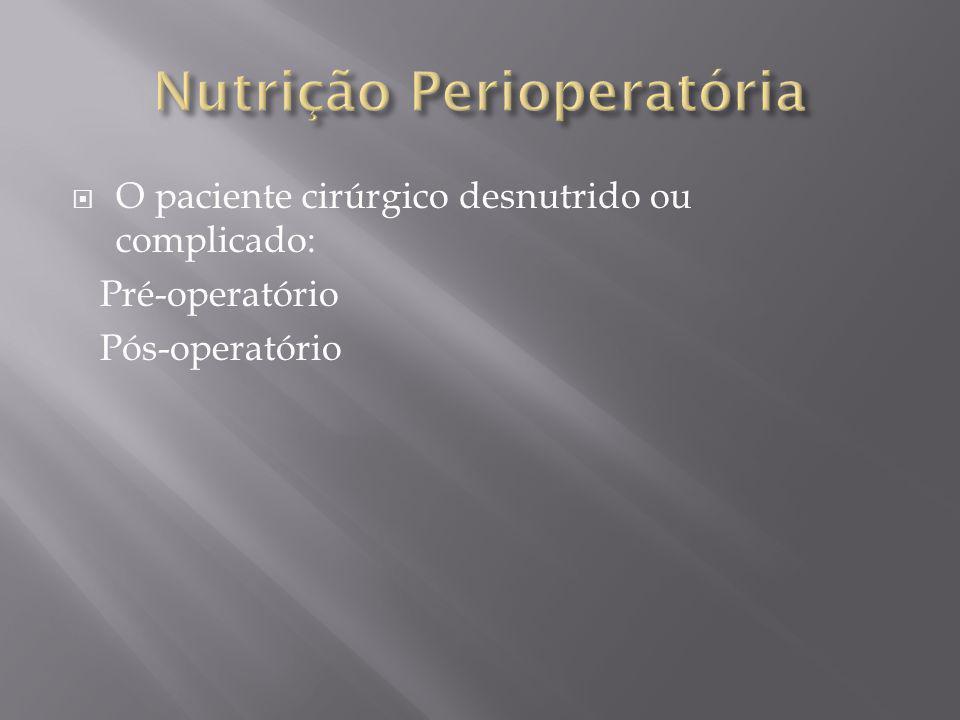 Alimentando pacientes que não podem comer no pós-operatório: -Continuar a NP(do pré-op) -Jejum por mais de 7 dias no pós-op -Desnutridos em cirurgia de emergência -Trauma grave ou doença crítica com intolerância a NE