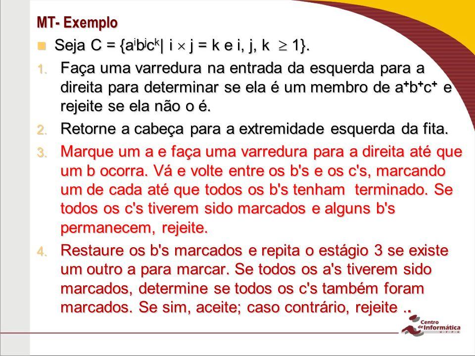Exemplo C = {a i b j c k | i j = k e i, j, k 1} 2 a D 9 A D 10 b D 3 5 D 1 a A,D b D c D 6 a,b,c E D 4 c D 7 8 Aceita 11 a D b B,D b,C D c C,E C,b E B D b B,D C E B b,E a A,D A D b,C D