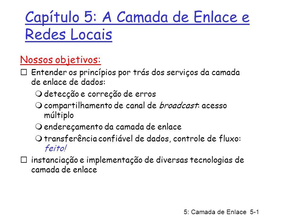 5: Camada de Enlace 5-2 Camada de Enlace 5.1 Introdução e serviços 5.2 Técnicas de detecção e correção de erros 5.3 Protocolos de acesso múltiplo 5.4 Endereçamento na Camada de Enlace 5.5 Ethernet 5.6 Comutadores de camada de enlace 5.7 PPP: o protocolo ponto-a-ponto 5.8 Virtualização de enlace: uma rede como camada de enlace 5.9 Um dia na vida de uma solicitação de página Web