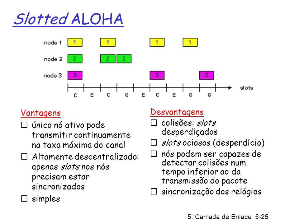 5: Camada de Enlace 5-26 Eficiência do Slotted Aloha Assuma N nós com muitos quadros para enviar, cada um transmite num slot com probabilidade p probabilidade que nó 1 tenha sucesso em um slot = p(1-p) N-1 probabilidade que qualquer nó tenha sucesso = Np(1-p) N-1 Para eficiência máxima com N nós, encontre p* que maximiza Np(1-p) N-1 Para muitos nós, faça limite para Np*(1-p*) N-1 quando N tende a infinito, dá 1/e = 0,37 Eficiência é a fração de longo prazo de slots bem sucedidos quando há muitos nós cada um com muitos quadros para transmitir Melhor caso: canal usado para transmissões úteis em 37% do tempo.