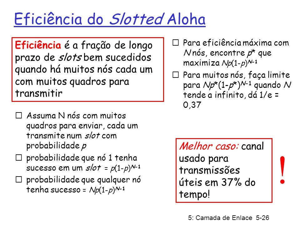 5: Camada de Enlace 5-27 ALOHA Puro (sem slots) Aloha puro (sem slots): mais simples, sem sincronização Ao chegar um quadro no nó transmite imediatamente Probabilidade de colisão aumenta: quadro enviado em t 0 colide com outros quadros enviados em [t 0 -1,t 0 +1]