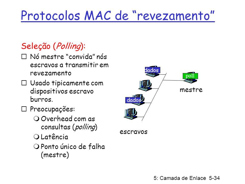 5: Camada de Enlace 5-35 Protocolos MAC de revezamento Passagem de permissão (token): controla permissão passada de um nó para o próximo de forma sequencial.