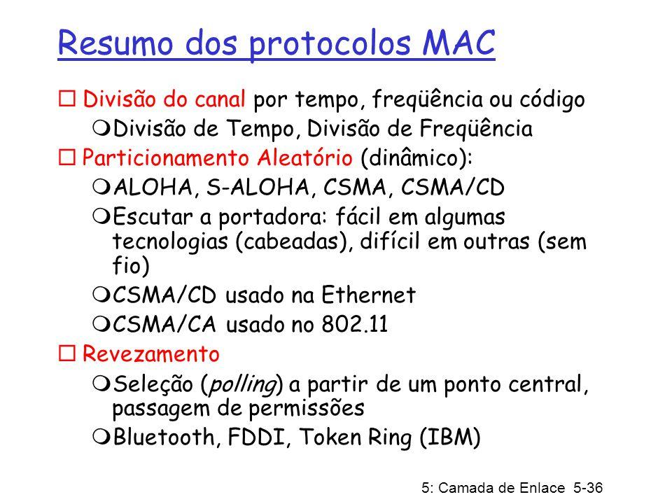 5: Camada de Enlace 5-37 Camada de Enlace 5.1 Introdução e serviços 5.2 Técnicas de detecção e correção de erros 5.3 Protocolos de acesso múltiplo 5.4 Endereçamento na Camada de Enlace 5.5 Ethernet 5.6 Comutadores da camada de enlace 5.7 PPP: o protocolo ponto-a-ponto 5.8 Virtualização de enlace: uma rede como camada de enlace 5.9 Um dia na vida de uma solicitação de página Web