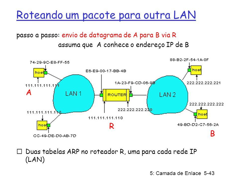 5: Camada de Enlace 5-44 A cria datagrama com origem A, destino B A usa ARP para obter o endereço MAC de R para 111.111.111.110 A cria quadro da camada de enlace com o endereço MAC de R como destino, quadro contém datagrama IP de A para B O adaptador de A envia o quadro O adaptador de R recebe o quadro R remove o datagrama IP do quadro Ethernet, verifica que é destinado para B R usa ARP para obter o endereço MAC de B R cria quadro contendo datagrama IP de A para B e o envia para B A R B Este é um exemplo muito importante – garanta que você o entendeu!