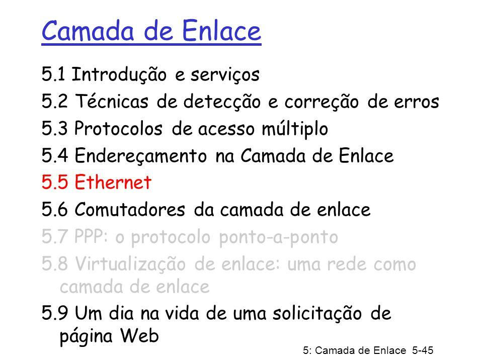 5: Camada de Enlace 5-46 Ethernet Muitíssimo difundida porque: Muito barata.