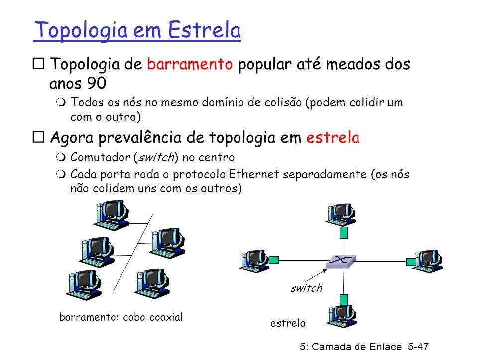 5: Camada de Enlace 5-48 Estrutura do Quadro Ethernet Adaptador remetente encapsula datagrama IP (ou pacote de outro protocolo da camada de rede) num Quadro Ethernet Dados: 46 a 1500 bytes Preâmbulo: 7 bytes com o padrão 10101010 seguidos por um byte com o padrão 10101011 usado para sincronizar receptor ao relógio do remetente (relógios nunca são exatos, é muito provável que exista algum desvio entre eles)