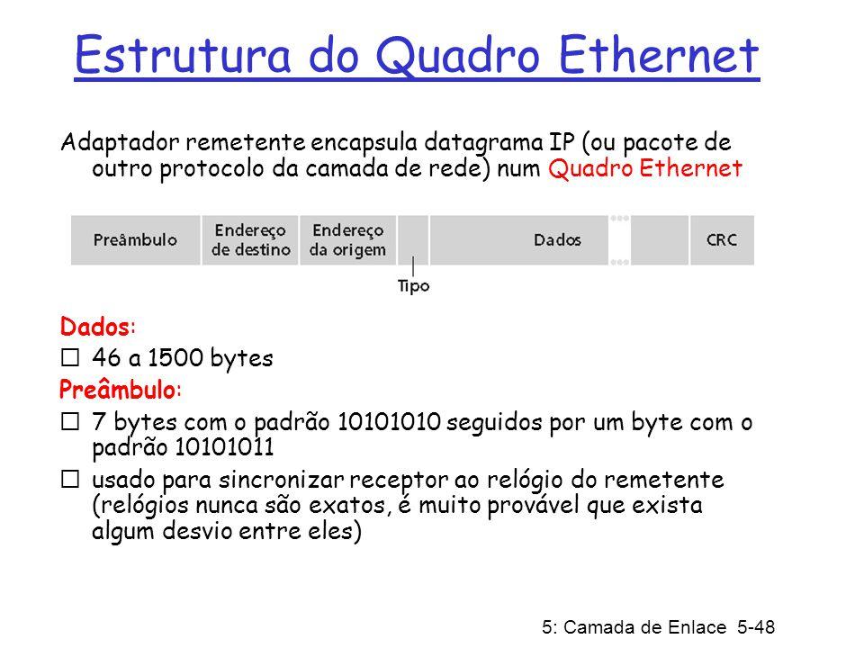 5: Camada de Enlace 5-49 Estrutura de Quadro Ethernet (cont) Endereços: 6 bytes para cada endereço MAC se o adaptador recebe um quadro com endereço destino igual ao seu, ou com endereço de broadcast (ex., pacote ARP), ele passa os dados do quadro para o protocolo da camada de rede caso contrário, o adaptador descarta o quadro Tipo (2 bytes): indica o protocolo da camada superior, usualmente IP, mas existe suporte para outros (tais como IPX da Novell e AppleTalk) CRC (4 bytes): verificado pelo receptor: se for detectado um erro, o quadro será descartado