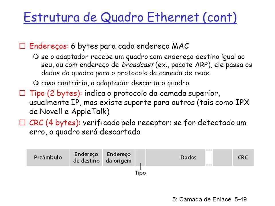 5: Camada de Enlace 5-50 Ethernet: não confiável e não orientado para conexão Não orientado para conexão: Não há estabelecimento de conexão (saudação) entre os adaptadores transmissor e receptor.