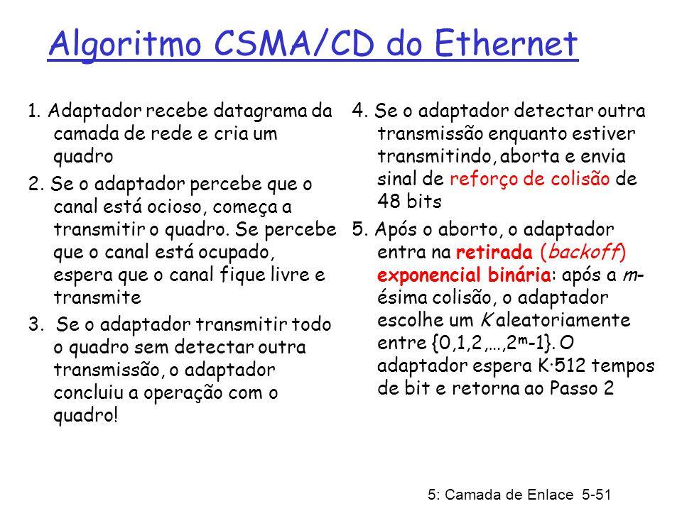 5: Camada de Enlace 5-52 CSMA/CD da Ethernet (mais) Sinal de reforço de colisão: garante que todos os demais transmissores estejam cientes da colisão: 48 bits Tempo de Bit: 0,1 microseg para Ethernet de 10 Mbps; para K=1023, tempo de espera de cerca de 50 mseg Retirada Exponencial Binária: Objetivo: adaptar as tentativas de retransmissão à carga atual estimada Alta carga: espera aleatória será mais longa na primeira colisão: escolhe K entre {0,1}; atraso é de K· 512 tempos de transmissão de um bit após a segunda colisão: escolhe K entre {0,1,2,3}… após 10 colisões, escolhe K entre {0,1,2,3,4,…,1023} Veja/interaja com o applet Java sítio do livro: altamente recomendável !