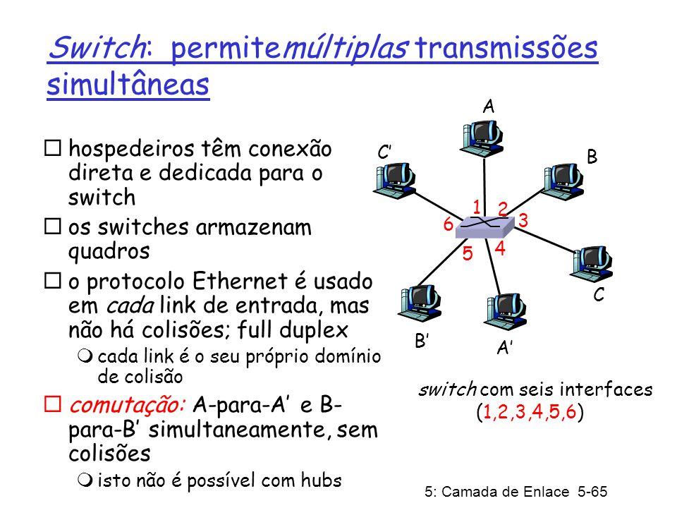 5: Camada de Enlace 5-66 Tabela de Comutação P: como é que o switch sabe que A é alcançável através da interface 4, e que B é alcançável a partir da interface 5.