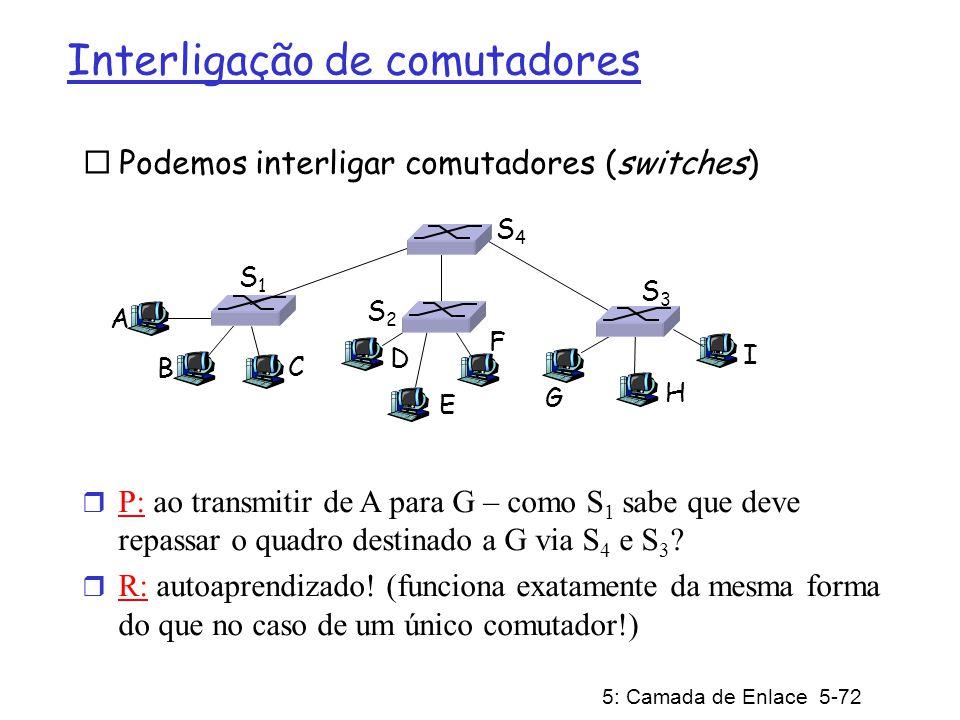 5: Camada de Enlace 5-73 Exemplo de autoaprendizado com múltiplos comutadores Suponha que C envia quadro para I, I responde para C r P: mostre as tabelas de comutação e repasse de pacotes em S 1, S 2, S 3 e S 4 A B S1S1 C D E F S2S2 S4S4 S3S3 H I G 1 2