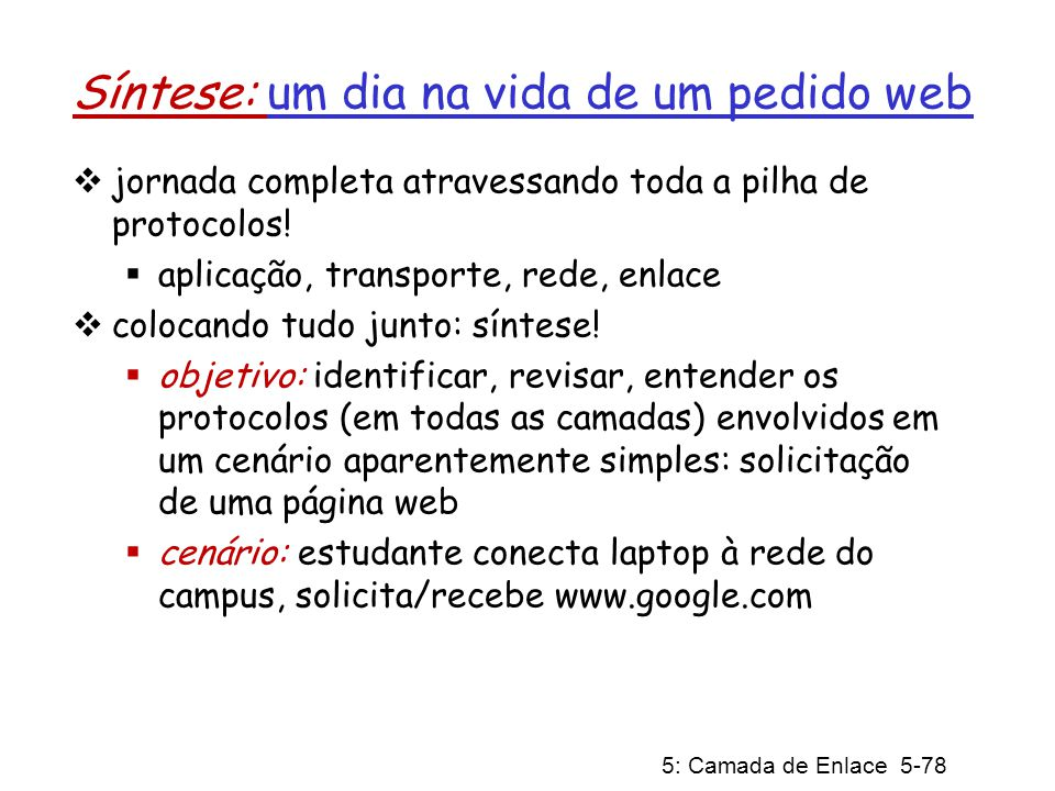 5: Camada de Enlace 5-79 Um dia na vida: cenário rede da Comcast 68.80.0.0/13 rede do Google 64.233.160.0/19 64.233.169.105 servidor web Servidor DNS rede da escola 68.80.2.0/24 página web navegador