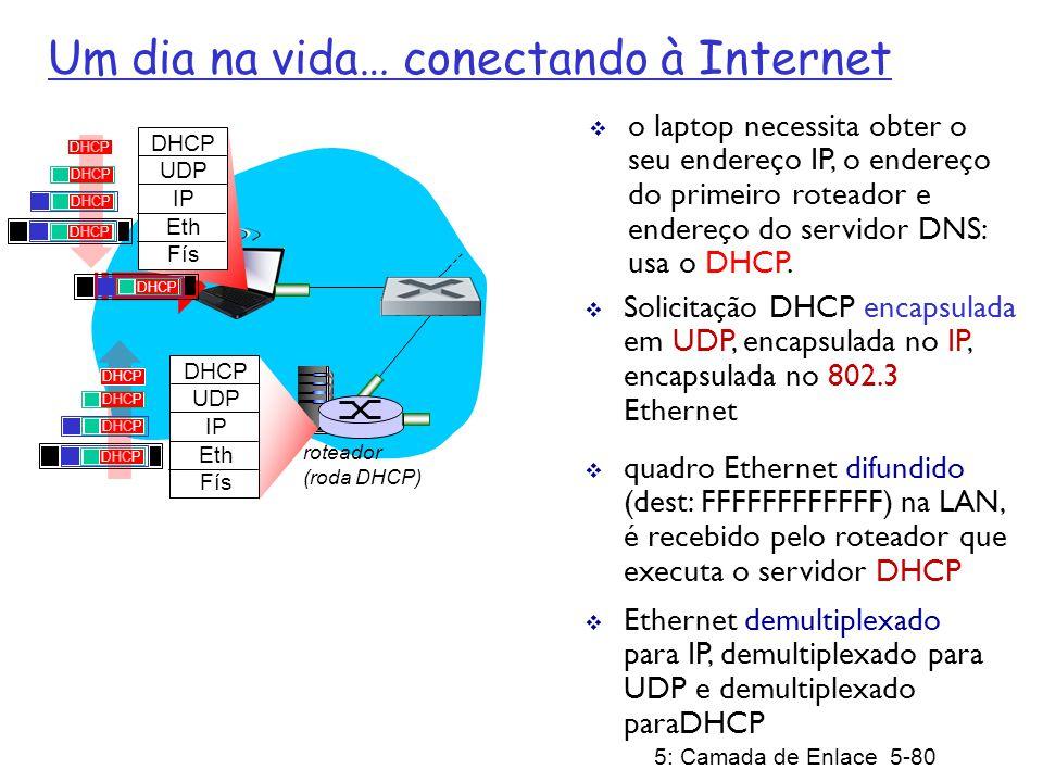 5: Camada de Enlace 5-81 roteador (roda DHCP) servidor DHCP prepara ACK DHCP contendo endereço IP do cliente, endereço IP do primeiro roteador, nome e endereço IP do servidor DNS DHCP UDP IP Eth Fís DHCP UDP IP Eth Fís DHCP encapsulamento no servidor DHCP, quadro repassado (aprendizado do switch) através da LAN, demultiplexação no cliente Cliente agora possui um endereço IP, conhece o nome e end.
