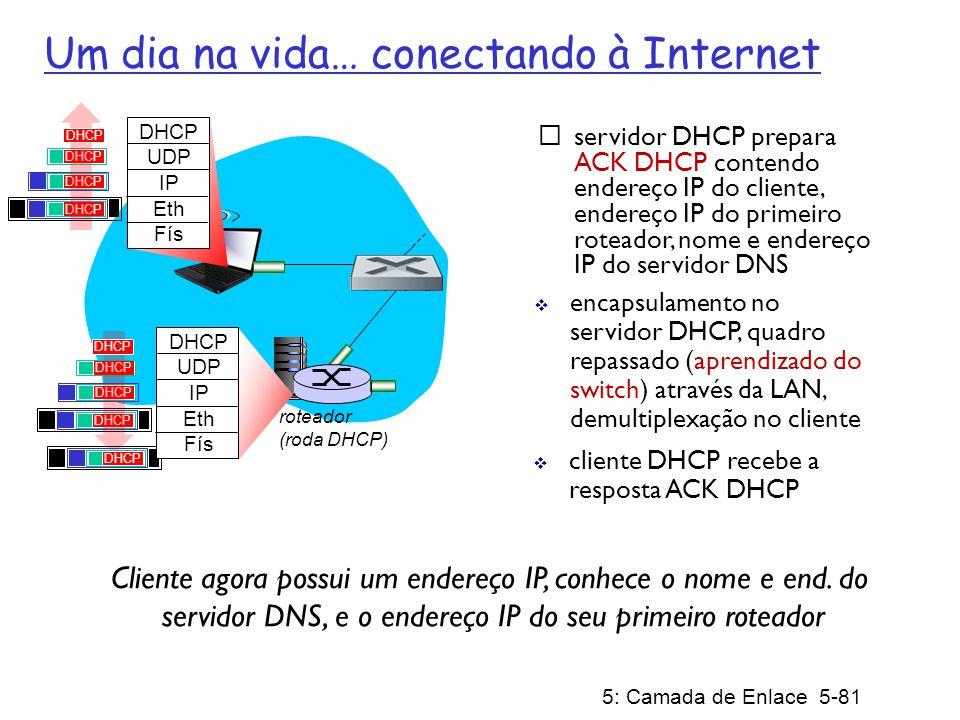 5: Camada de Enlace 5-82 roteador (roda DHCP) Um dia na vida… ARP (antes do DNS, antes do HTTP) DNS UDP IP Eth Phy DNS consulta DNS criada, encapsulada no UDP, encapsulada no IP, encapsulada no Eth.