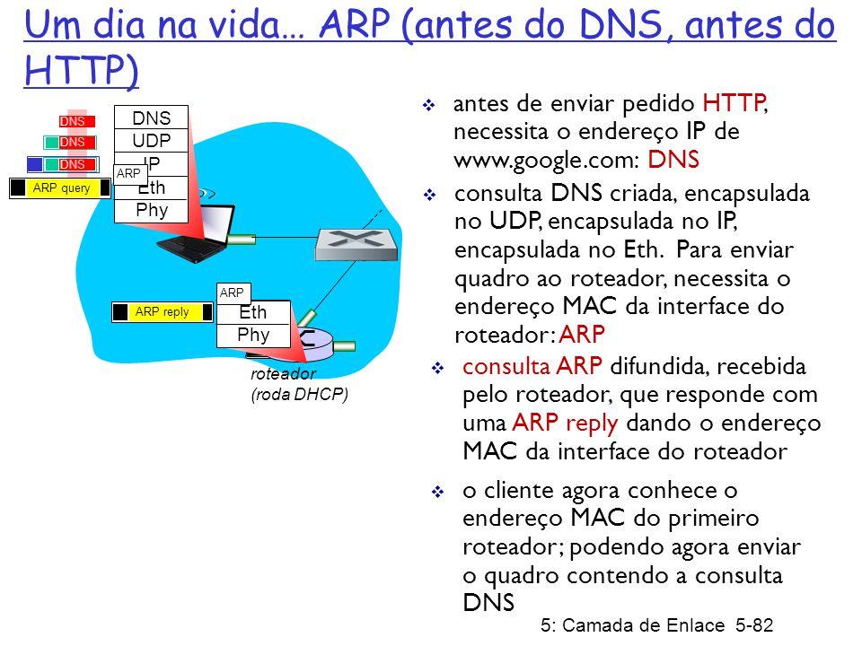 5: Camada de Enlace 5-83 roteador (roda DHCP) DNS UDP IP Eth Phy DNS datagrama IP contém consulta DNS encaminhada através do switch LAN do cliente até o primeiro roteador datagrama IP repassado da rede do campus para a rede da Comcast, roteado (tabelas criadas pelos protocolos de roteamento RIP, OSPF, IS-IS e/ou BGP) para o servidor DNS demultiplexado pelo servidor DNS servidor DNS responde ao cliente com o endereço IP de www.google.com rede da Comcast 68.80.0.0/13 servidor DNS DNS UDP IP Eth Phy DNS Um dia na vida… usando DNS