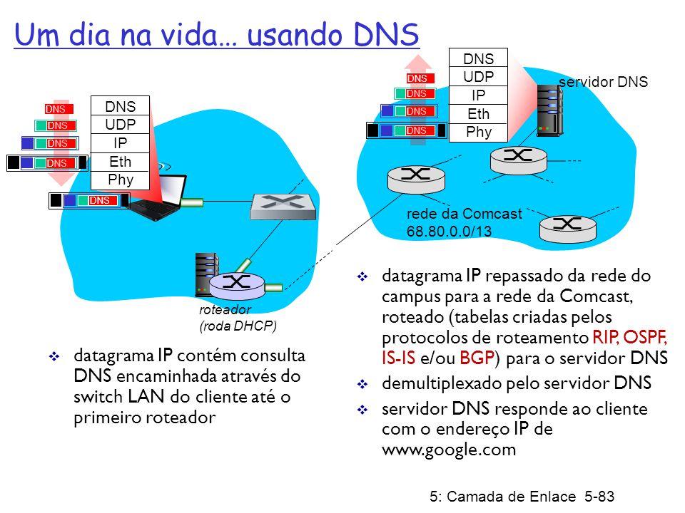 5: Camada de Enlace 5-84 roteador (roda DHCP) Um dia na vida… conexão TCP transportando HTTP HTTP TCP IP Eth Phy HTTP para enviar pedido HTTP, cliente primeiro abre um socket TCP para o servidor web segmento SYN TCP (passo 1 da saudação em 3 vias) inter- domínio roteado para o servidor web conexão TCP estabelecida.