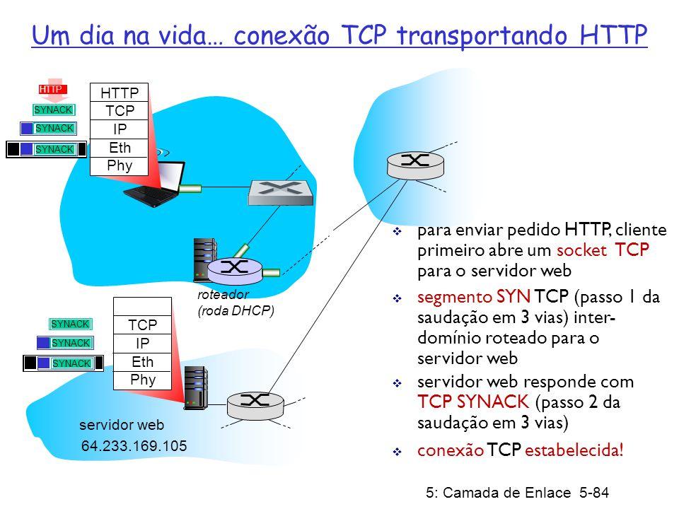 5: Camada de Enlace 5-85 roteador (roda DHCP) Um dia na vida… solicitação/resposta HTTP HTTP TCP IP Eth Phy HTTP solicitação HTTP enviada para o socket TCP datagrama IP que contém a solicitação HTTP é encaminhado para www.google.com datagrama IP com a resposta HTTP é encaminhado de volta para o cliente 64.233.169.105 servidor web HTTP TCP IP Eth Phy servidor web responde com resposta HTTP (contendo a página web) HTTP página web finalmente(!!!) apresentada