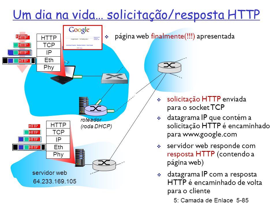 5: Camada de Enlace 5-86 Capítulo 5: Resumo princípios por trás dos serviços da camada de enlace de dados: detecção, correção de erros compartilhamento de canal de difusão: acesso múltiplo endereçamento da camada de enlace instanciação e implementação de diversas tecnologias de camada de enlace Ethernet LANs comutadas redes virtualizadas como camada de enlace: MPLS síntese: um dia na vida de uma solicitação web
