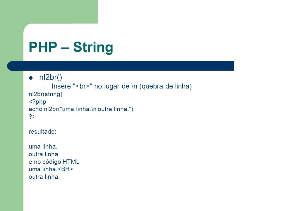PHP – String number_format() – Formata uma String numerica number_format(numero,casas decimais,separador decimal, separador de milhar) <?php echo number_format( 1000000 ); echo ; echo number_format( 1000000 ,2); echo ; echo number_format( 1000000 ,2, , , . ); ?> retornando 1,000,000 1,000,000.00 1.000.000,00