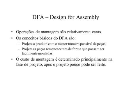 DFA – Design for Assembly