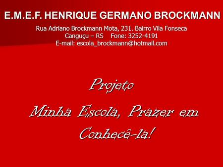 E.M.E.F. HENRIQUE GERMANO BROCKMANN