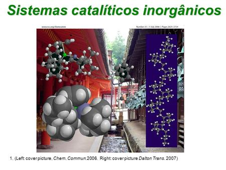 1. (Left: cover picture, Chem. Commun.2006. Right: cover picture Dalton Trans. 2007) Sistemas catalíticos inorgânicos.
