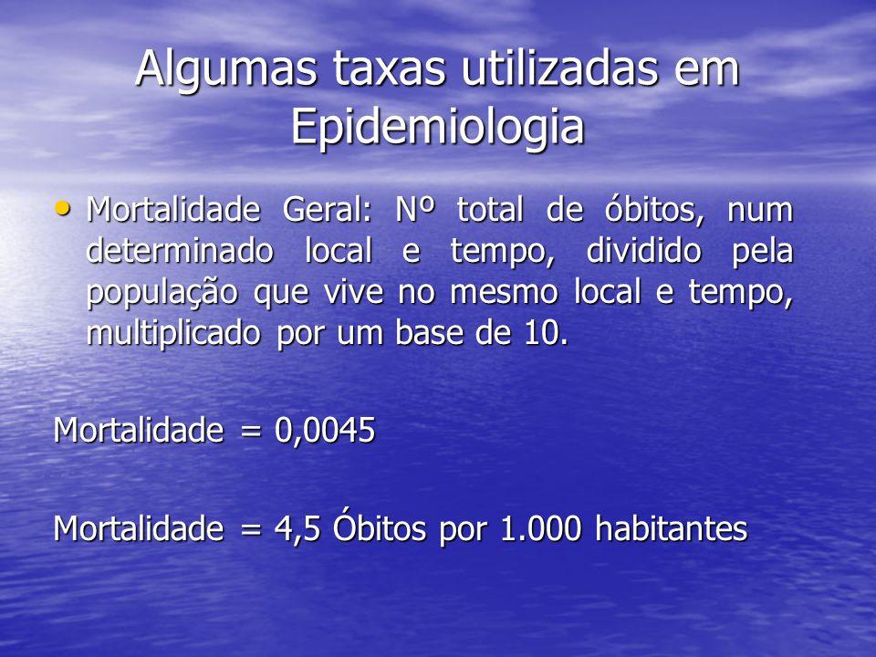 Taxas semelhantes à Mortalidade Geral são utilizadas a todo momento...