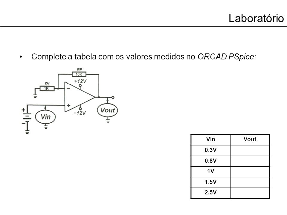 Laboratório Considerando os dois circuitos anteriores, selecione a resposta que considera mais correta e completa: –O Vout nos dois últimos amplificadores operacionais é calculado por intermédio da seguinte expressão: (-Vin x (RF / R1)) (Vin x (R1 / RF)) (Vin x (1 + (RF / R1)))