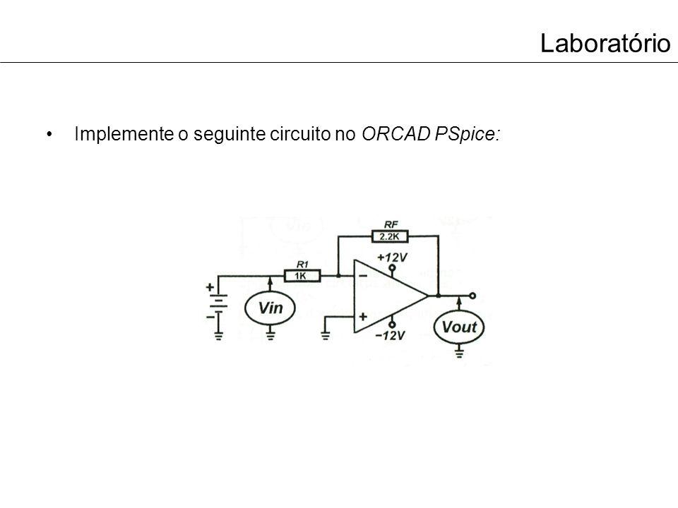 Laboratório Complete a tabela com os valores medidos no ORCAD PSpice: VinVout 0.2V 0.5V 1V 1.5V 2V 4.5V