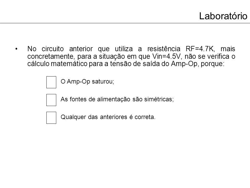 Laboratório A configuração dos circuitos anteriormente implementados é: Inversora Não inversora Comparadora