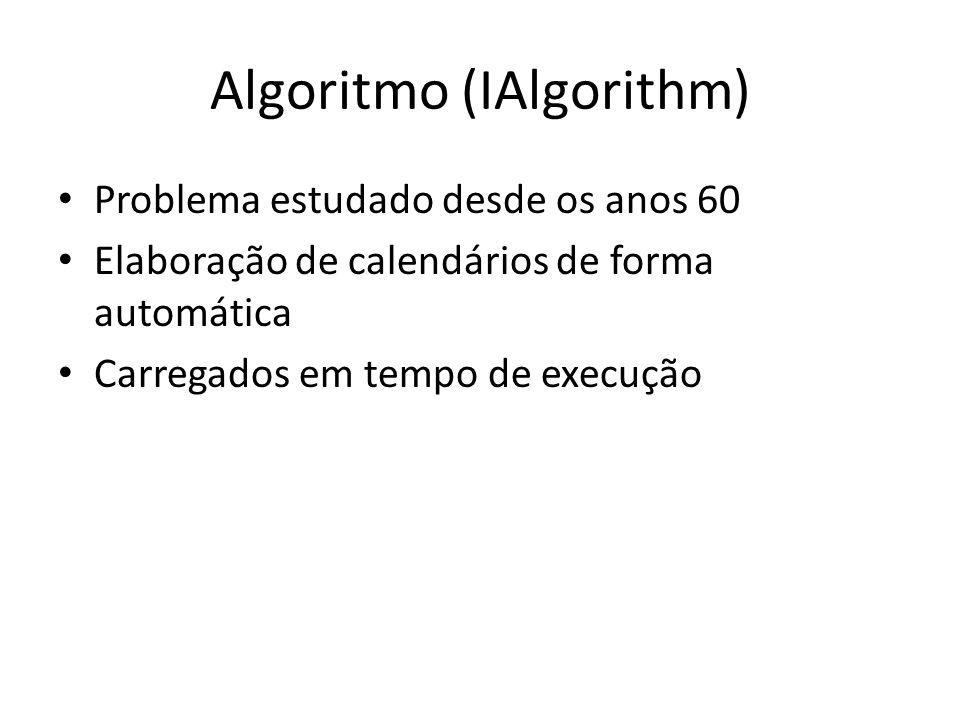 IAlgorithm (Implementação) Interface Ialgorithm – Propriedade Descritpion para identificar o algoritmo na aplicação; – Metodos Set para parametrizar o algoritmo; – Metodo Run retorna exames marcados-