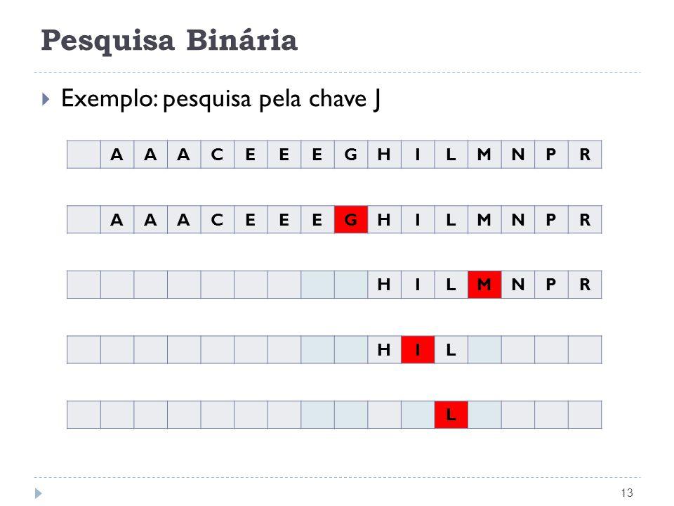 Pesquisa Binária 14 Indice Binaria(TipoChave x, Tabela *T) { Indice i, Esq, Dir; if (T->n == 0) return 0; /* vetor vazio */ Esq = 1; Dir = T->n; do { i = (Esq + Dir) / 2; if (x > T->Item[i].Chave) Esq = i + 1; /* procura na partição direita */ else Dir = i - 1; /* procura na partição esquerda */ } while ((x != T->Item[i].Chave) && (Esq <= Dir)); if (x == T->Item[i].Chave) return i; else return 0;