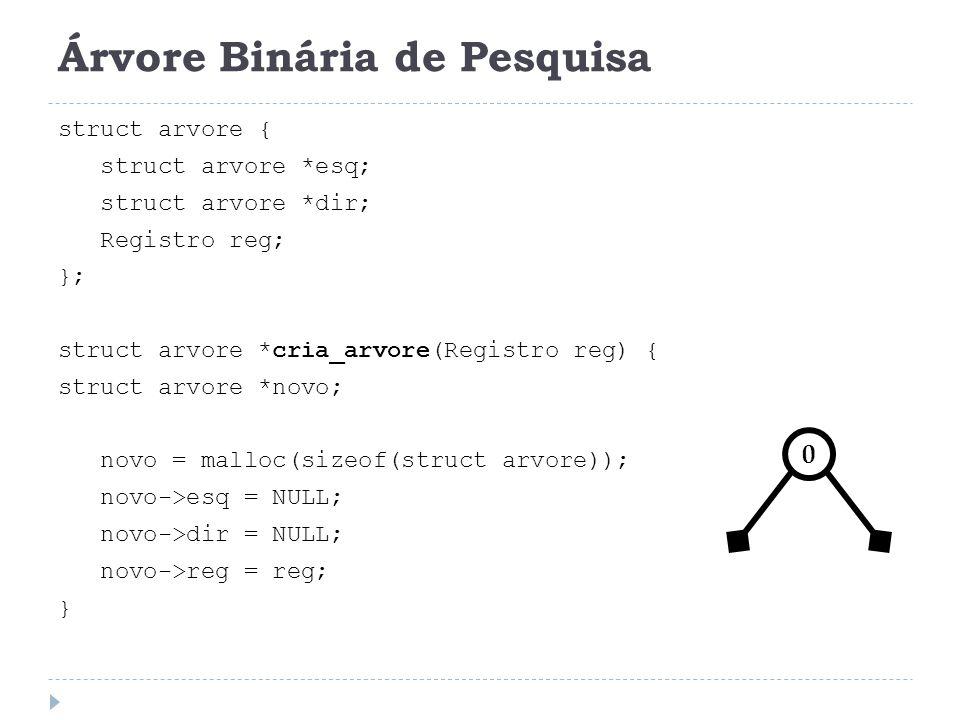 Árvore Binária de Pesquisa: Busca void Pesquisa(Registro *x, struct arvore *t) { if (t == NULL) { printf( Registro não esta presente na árvore\n ); } else if (x->Chave reg.Chave) Pesquisa(x, t->Esq); /* busca no filho esquerdo */ else if (x->Chave > t->reg.Chave) Pesquisa(x, t->Dir); /* busca no filho direito */ else *x = t->reg; }