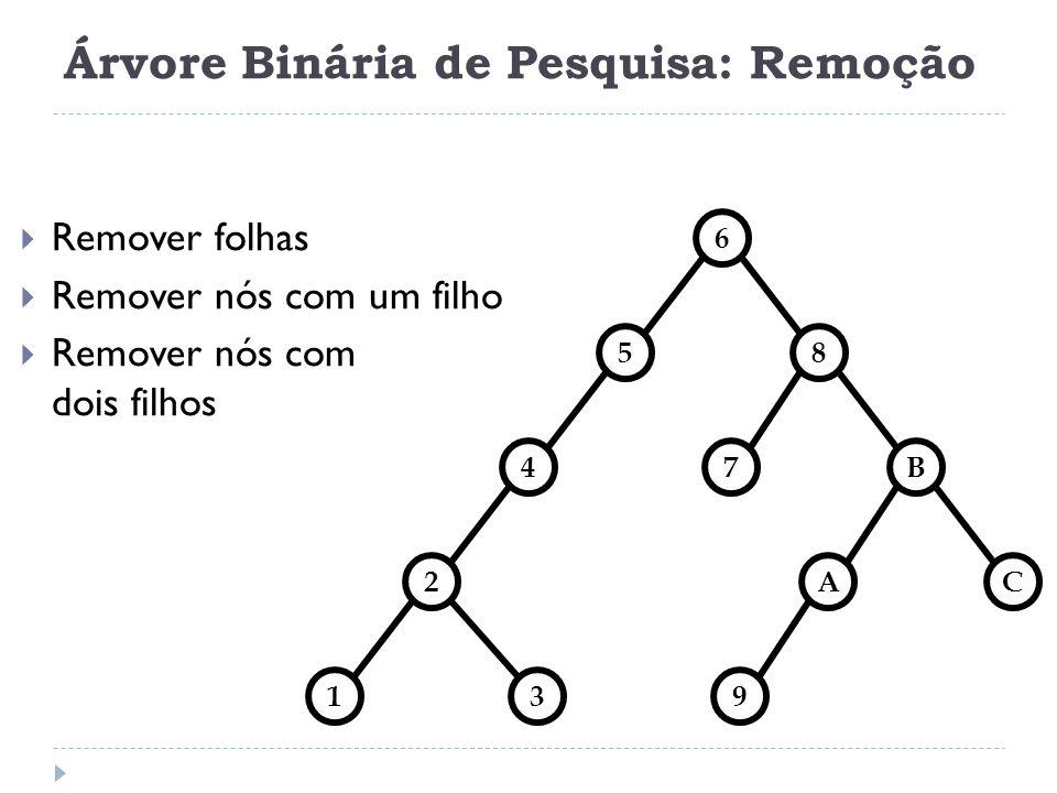 Árvore Binária de Pesquisa: Remoção Nó com 1 filho 85 6 4B 2AC 139 7