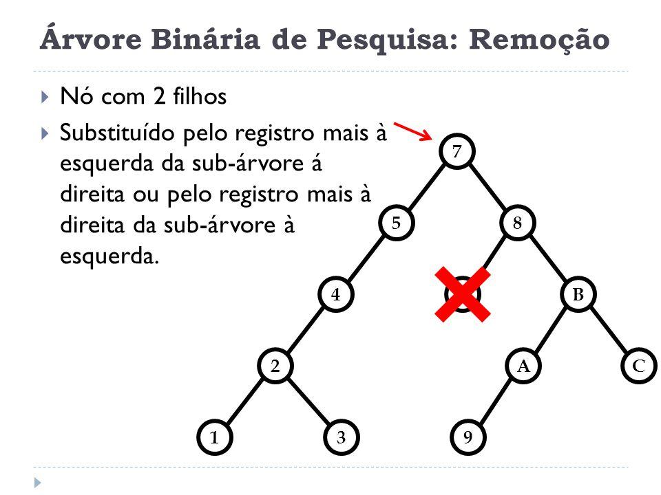Árvore Binária de Pesquisa: Remoção struct arvore *remove(struct arvore *t, TipoChave Chave) { struct arvore *aux; if(t == NULL) { printf(elemento ausente\n); } else if(Chave reg.Chave){ t->esq=remove(t->esq, Chave); } else if(Chave > t->reg.Chave){ t->dir=remove(t->dir, Chave); } else if (t->esq == NULL && t->dir == NULL) { free(t); return NULL; /* zero filhos */ } else if(t->esq == NULL) { aux = t->dir; free(t); return aux; /* 1 filho direita */ } else if(t->dir == NULL) { aux = t->esq; free(t); return aux; /* 1 filho esquerda */ } else { /* 2 filhos */ struct arvore *suc = acha_menor(t->dir); t->reg = suc->reg; t->dir = remove(t->dir, suc->reg.Chave); return t; } return t; }