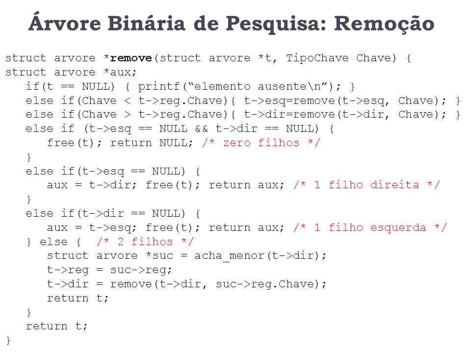 Árvore Binária de Pesquisa: Remoção void acha_menor(arvore *t) { if(t->esq == NULL) { return t; } return acha_menor(t->esq); }
