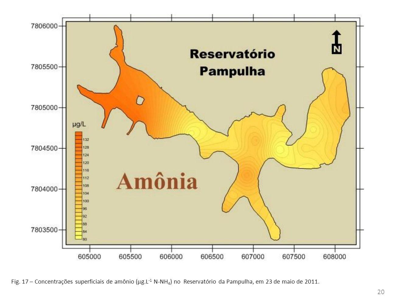 Fig.18– Concentrações superficiais de nitritos (µg.L -1 N-NO 2 ) no Reservatório da Pampulha, em 23 de maio de 2011.
