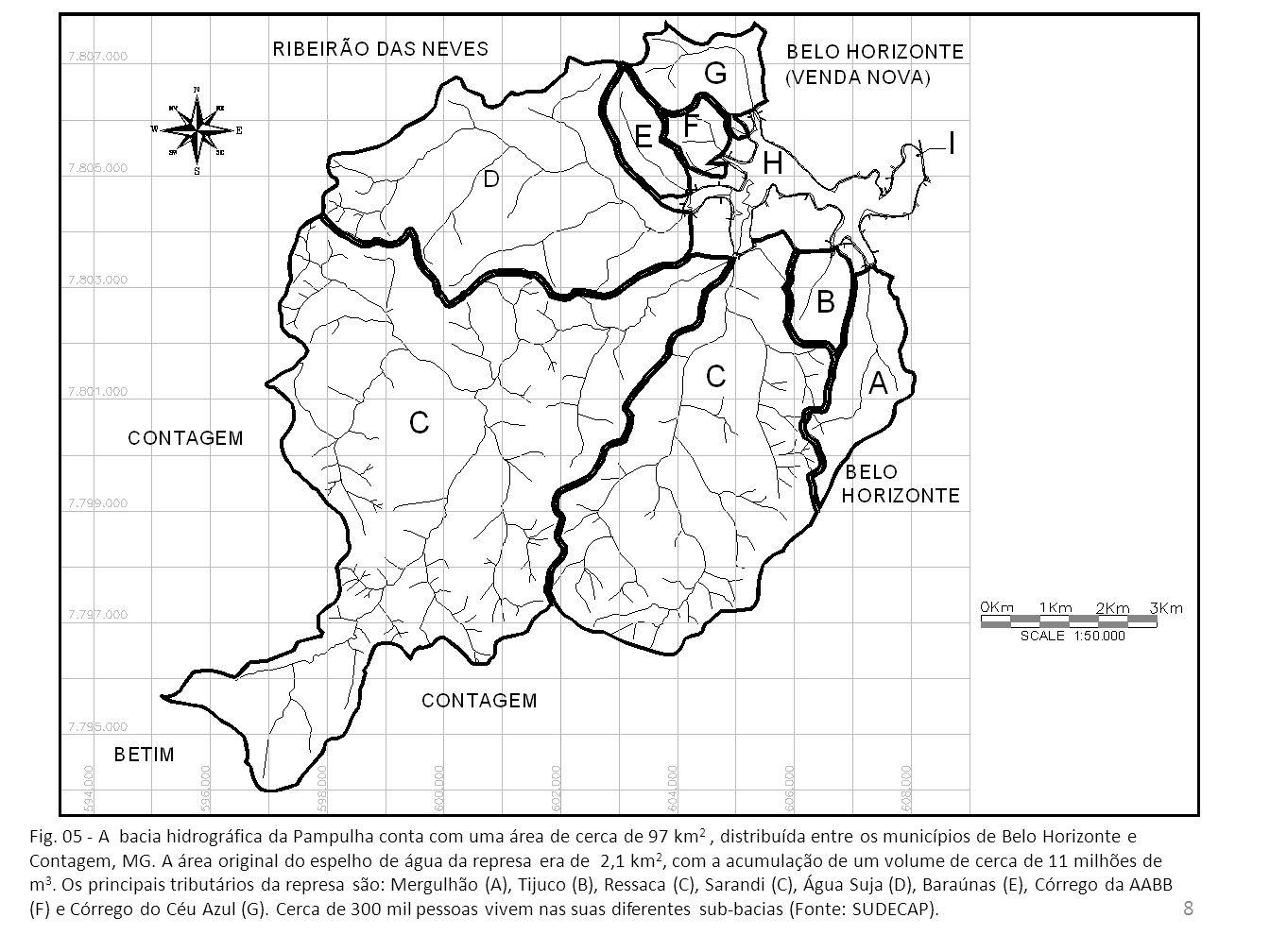 Represa da Pampulha Morfometria e batimetria de precisão Segundo as últimas pesquisas do LGAR (Resck et al, 2008) e Bezerra-Neto & Pinto-Coelho, 2010), a represa perdeu pelo menos 20% de seu volume acumulado nos últimos 30 anos (Fig.