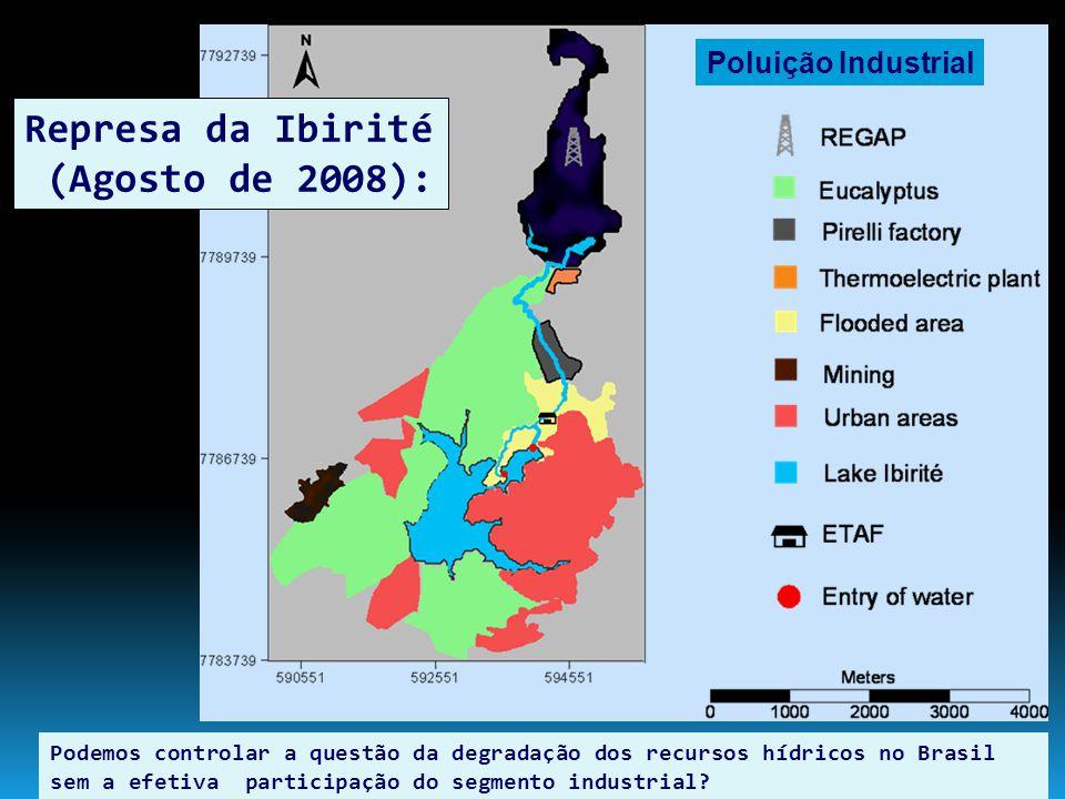 Represa da Ibirité (Agosto de 2008): A influência dos efluentes líquidos da refinaria Gabriel Passos em Betim pode ser diretamente observada através dos padrões espaciais da condutividade elétrica das águas superficiais do reservatório.