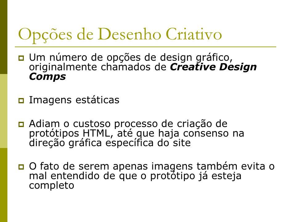 Opções de Desenho Criativo Extensão da atividade Prototype the User Interface, do RUP Para o caso de uso mais importante, são produzidas no mínimo 10 opções de design para o look and feel (LAF) Apenas 3 são selecionadas e apresentadas aos usuários