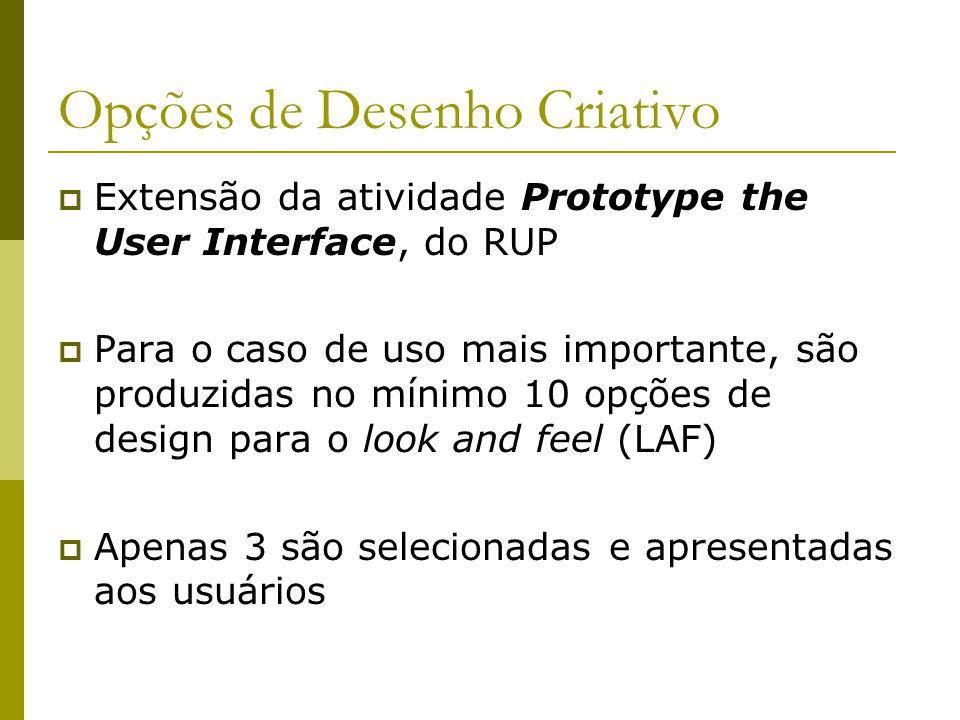 Opções de Desenho Criativo Permitem a produção de feedback dos usuários Geralmente consomem 3 iterações Constituem um processo criativo e iterativo Produzem um consenso com relação ao aspecto visual do produto Evoluem para um protótipo funcional de interface de usuário.