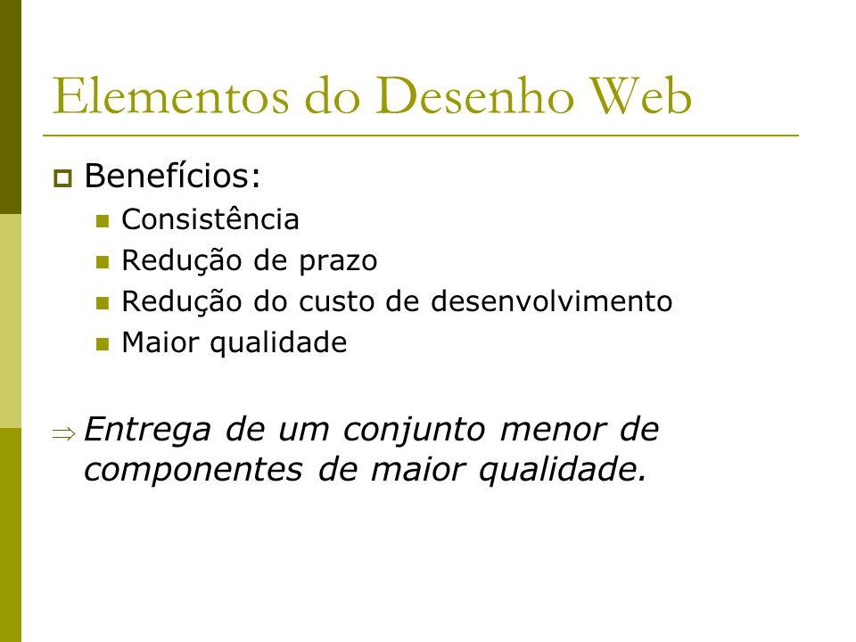 Elementos do Desenho Web Os Elementos do Desenho Web são criados com o protótipo inicial da interface de usuário As Opções de Desenho servem de insumo para a criação inicial dos Elementos do Desenho Web À medida em que o protótipo é aprovado, os elementos são finalizados e aprovados A identificação dos componentes de interface no RUP é feita em Workflow Detail: Design Components