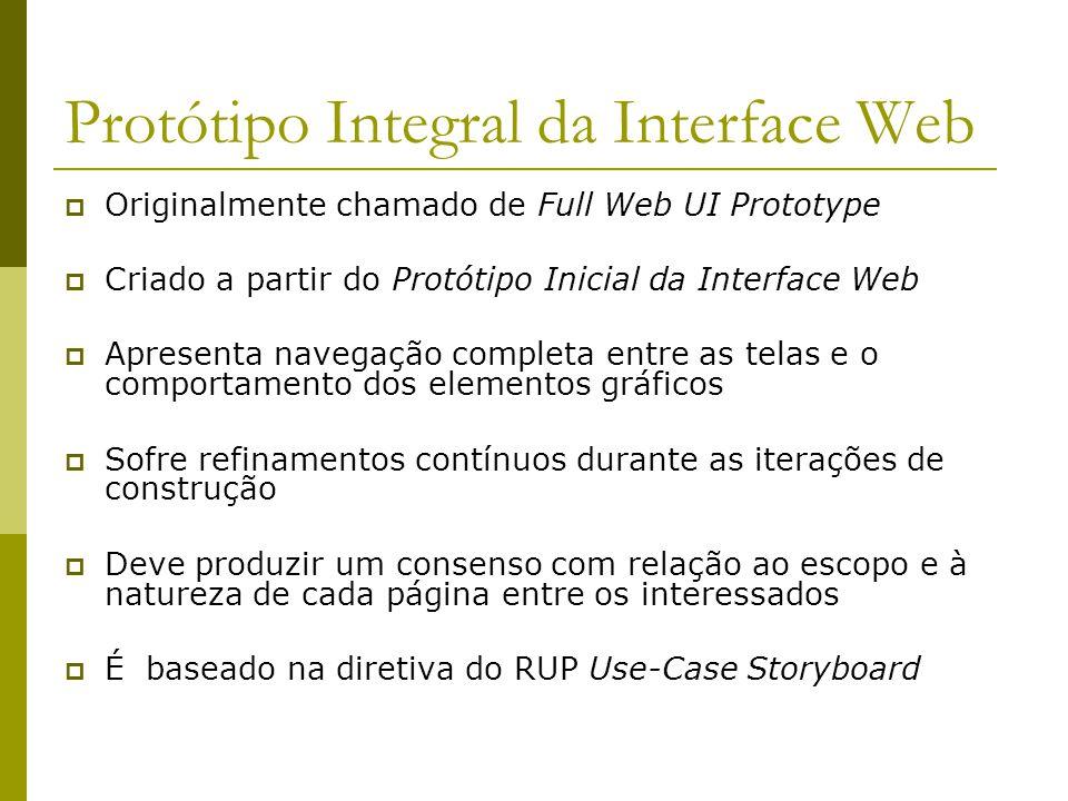 Mapa de Navegação Completo Criado após concluído o Protótipo Integral da Interface Web Baseado no Mapa de Navegação e nos detalhamentos dos casos de uso Deve incluir todas as páginas e telas conhecidas e identificadas no Protótipo Integral da Interface Web