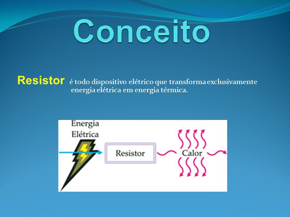 Simbolicamente é representado por: Alguns dispositivos elétricos classificados como resistores são: ferro de passar roupa, ferro de soldar, chuveiro elétrico, lâmpada incandescente, etc.