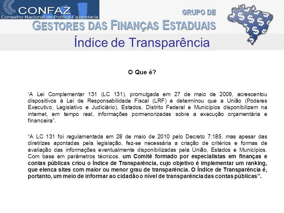 O Índice de Transparência O projeto tem como escopo o desenvolvimento de parâmetros de transparência orçamentária métodos de avaliação objetivos, para a criação de índices relativos às unidades da federação.