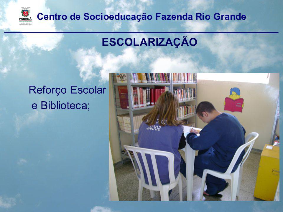 Centro de Socioeducação Fazenda Rio Grande ____________________________________________________ ATIVIDADES PEDAGÓGICAS COMPLEMENTARES –Reunião com as famílias; –Oficinas de artesanato –Oficina de cartas; –Aniversários; –Oficina de relacionamentos interpessoais; –Grupo terapêutico de Constelações Familiares; –Informática.