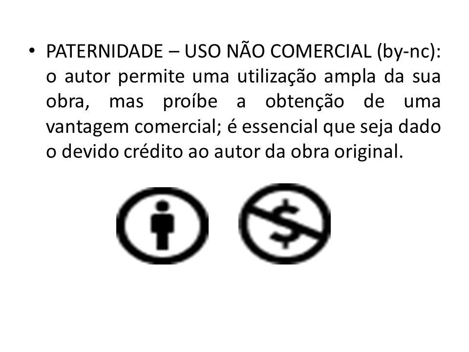 PATERNIDADE – PROIBIÇÃO DE REALIZAÇÃO DE OBRAS DERIVADAS (by-nd): permite a redistribuição, comercial ou não-comercial, desde que a sua obra seja utilizada sem alterações e na íntegra.